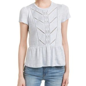 Rebecca Taylor Lace Trim Linen Jersey Tee